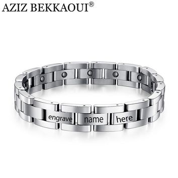 AZIZ BEKKAOUI Magnetic Bracelet Men Titanium Steel Bangle 21-23CM Jewelry
