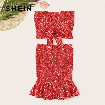 SHEIN Red Frilled Trim Bow Knot Dot Bandeau Crop Top And Skirt Two Piece Set Summer Boho Strapless Sleeveless Matching Sets