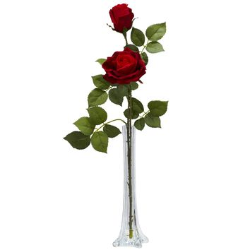 Artificial Flowers -Roses With Tall Bud Vase Flower Arrangement Silk Flowers