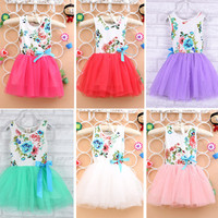 Baby dresses for girls infant cotton clothing sleeveless tutu dress with ribbons beautiful summer clothes flower printed A223 Alternative Measures - Brides & Bridesmaids - Wedding, Bridal, Prom, Formal Gown