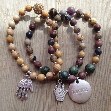 Traveling gypsy yellow jasper tiger eye serpentine amethyst Chinese painting silver hamsa karma pave bead yoga inspired bracelet