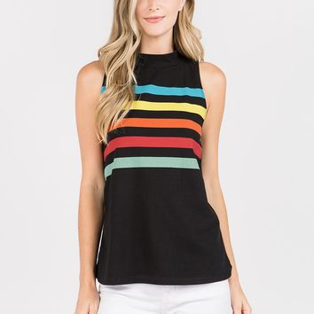 Sleeveless Mock Neck Rainbow Tee in Black