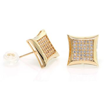 14k Gold, Large Kite Mens Stud Earrings With Micro Pave Setting