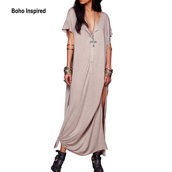 2017 Spring New Women Casual Dress Robe Sleeve O-Neck Loose Brief Plus Size slit Long maxi Dress Gown women clothing