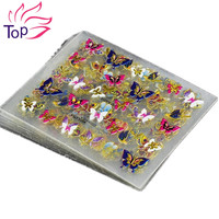24Pcs in 1 Large Size Sheet  Moon Butterfly Animal Pattern For Stamping 3D Nail Sticker Charms Bronzing Nail Art Decal JH130