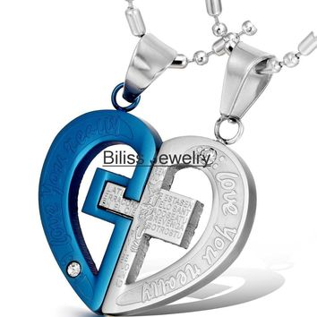 "Necklaces & Pendants Couple his and her Necklace Stainless Steel Cross Heart Pendant Engraved ""LOVE YOU REALLY"" Gold/Blue/Black"