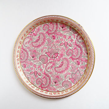 Vintage Pink Paisley Floral Serving Tray, Round Metal Cake Plate, Vienna Woods Design Platter, 60s Decorative Tin Server Tray, England