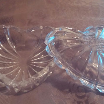Splendid Vintage Home Beautiful Original Design Crystal Heart Shaped Trinket / Jewelry Box Made in Japan