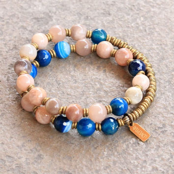 Independence and confidence, Sunstone and Blue lace agate 27 bead mala wrap bracelet™
