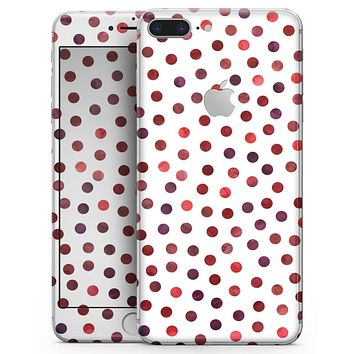 Red Watercolor Dots over White - Skin-kit for the iPhone 8 or 8 Plus