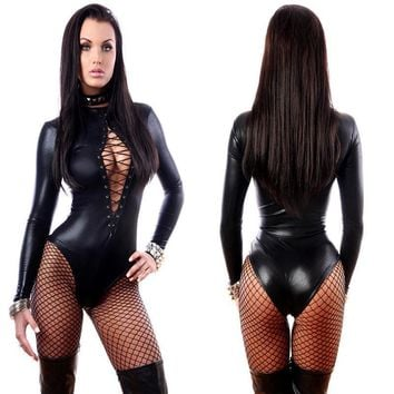 Sexy Black Vinyl Leather Bodysuits