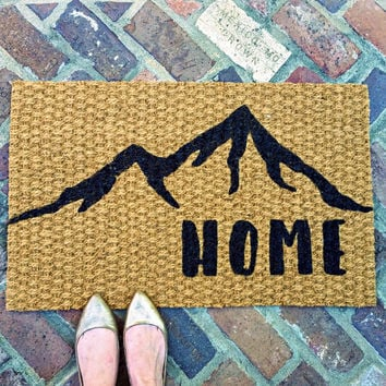 Home Doormat with Mountains – Welcome Doormat - Mountain Art - Outdoor Rug - Rocky Mountains - Housewarming Gift -Colorado Gift-Rustic Decor