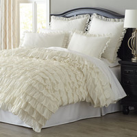 The Savannah Ivory King Size Waterfall Ruffle Bedding Duvet Cover