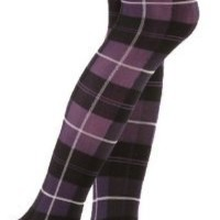 Plaid Textured Fashion Tights in Your Choice of Grey, Purple or Brown by Foot Traffic