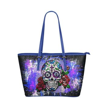 Hip Water Resistant Small Leather Tote Bags Sugar Skull #6 (5 colors)