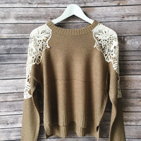 Dakota Crochet Inset Sweater (Taupe)