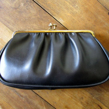 Black Clutch Bag with gold chain evening bag dressy elegant prom formal vintage 60s handbag faux leather vegan clutch purse Mad Men era