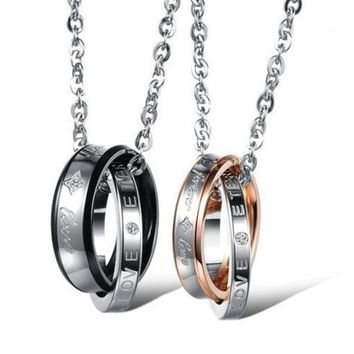 CREYUG3 Couple 'Forever Love' Double Ring Necklace Lover Promise Necklace One Piece Price