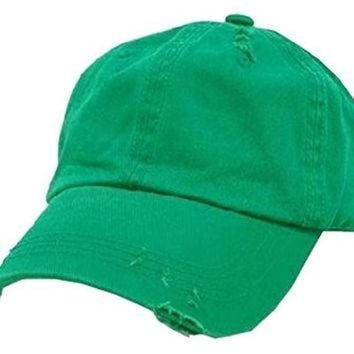 ONETOW Kelly Green Vintage Distressed Polo Style Low-Profile Baseball Cap Hat