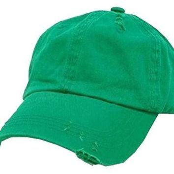 LMFON Kelly Green Vintage Distressed Polo Style Low-Profile Baseball Cap Hat