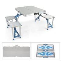 Portable Outdoor Folding Picnic Table With 4 Seats And Umbrella Hole Aluminum Alloy For Garden Camping Picnic TB Sale