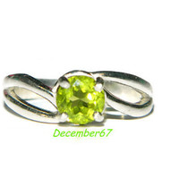Peridot Ring, Sterling Silver Setting, Size 7