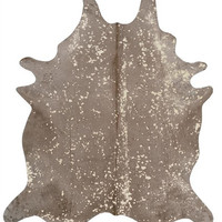 Sand with Matte Gold Metallic Brazilian Cowhide Rug