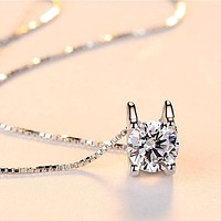 ON SALE - Suspended 2CT Cubic Zirconia Solitaire Necklace