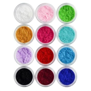 one piece 12 Color Velvet Glitter powder for UV Nail Gel Acrylic Polish styling nail tools makeup gel nail polish nails art M841