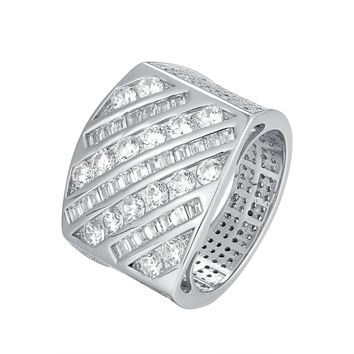 Sterling Silver Men's Custom Side Iced Out Princess Cut Ring