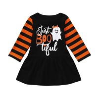 Halloween Clothes Dresses Infant Toddler Baby Girls Ghost Cartoon Party Dress stripe patchwork Halloween Clothes