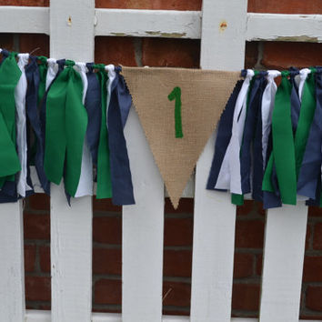 Burlap High Chair fabric banner with #1 painted green with green, navy and white accents whale birthday decor preppy decor turtle birthday
