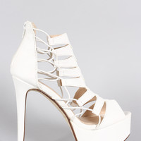 Anne Michelle Strappy Peep Toe Stiletto Platform Heel