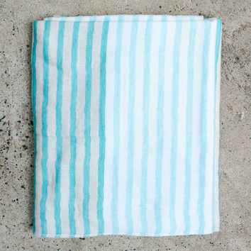 Yoshii Linen Blend Sea Border Bath Towel