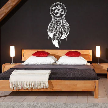 Dream Catcher Dreamcatcher Feathers Hindu Om Symbol Wall Decal Vinyl Sticker Decals Bedroom Home Wall Art Decor Wall Decals V987