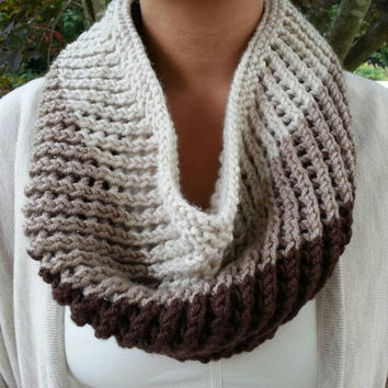Hand Knit Shades of Brown Ombre / Color Block Mesh Cowl in a Slightly Chunky Acrylic Blend. Also Available in Shades of Grey / Black