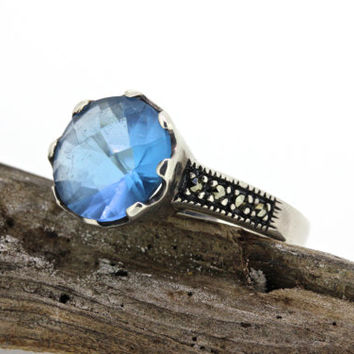 Alternative Engagement Ring Sterling Silver Ring Blue Gemstone Ring Promise Ring Antique Inspired Ring Marcasite Ring Size 9