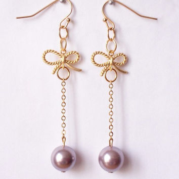 dangling earrings, pearl earrings, Swarovski crystal pearl earrings by SABOTAGEandCO