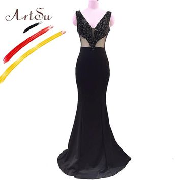 ArtSu Elegant Prom Gown Luxury 3D Sequin Beading V-Neck Floor-Length Mermaid Dress Hollow Out Slim Sleeveless Maxi Vestido Party