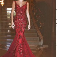 Custom Made Mermaid Prom Dresses 2016 Sweetheart Sleeveless Sheer Back Sweep Train Tulle with Applique Sexy Long Party Dresses