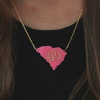 My State Monogram Engraved Necklace