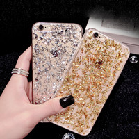 Gold Bling Paillette Sequin Skin Clear Soft Tpu Case For Iphone 6 4.7 6s Iphone 6 Plus 6s Plus
