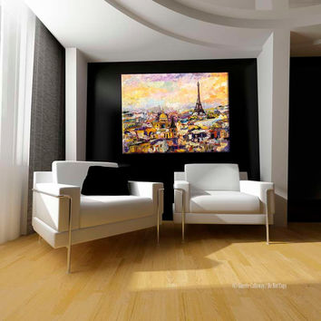 Paris Eiffel Tower HUGE Original Oil Painting Linen 46 by 60 inches by Ginette Unstretched