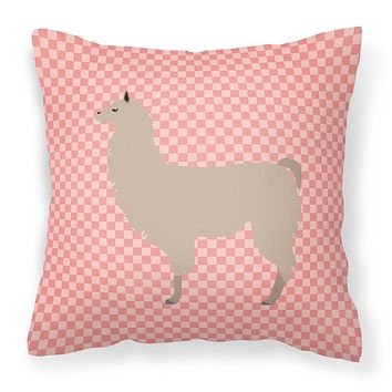 Llama Pink Check Fabric Decorative Pillow BB7916PW1414