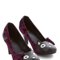 Quirky Meow's the Time Heel in Purple Velvet