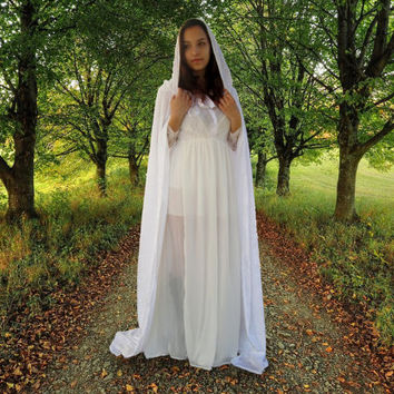 white velvet cape cloak medieval long hooded cape fantasy wedding or costume festival halloween fantasy white victorian cape