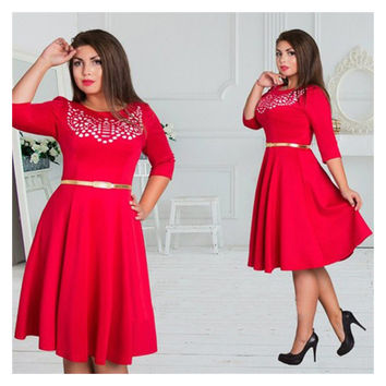 Plus size women clothing L-6xl dress casual o-neck A-Line
