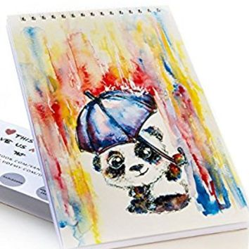 #1 BEST Sketchbook for Kids by TravelArt - Creative Panda Artwork, Acid Free - Spiral Sketch Pad of 100 - Great Craft Journal for Beginners to Learn How to Draw with Colored Pencils - Perfect Gift