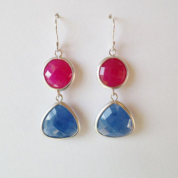 Blue Sapphire and Ruby Gemstone Silver Chandelier Earrings - Blue Earrings - Red Earrings - Silver Earrings - Mothers Day Gift