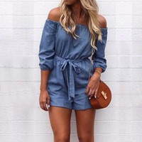 Denim Off the Shoulder Romper